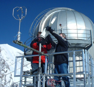 Cloud physics instruments being installed at the Jungfraujoch site during a project to measure properties of mixed phase clouds