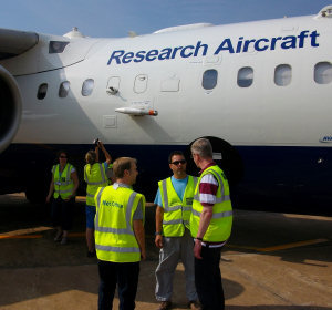 Preparing for a flight on the UK research aircraft in Rio Branco Brazil