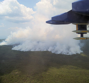 A natural forest fire in Amazonia Brazil pictured from the air during the SAMBBA project