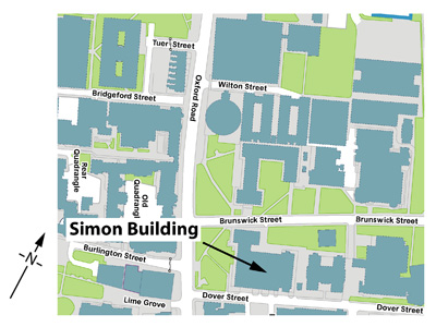 Map showing the position of the Simon Building on campus.