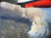 A fire plume viewed from the air