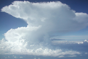 A Hector storm over the Tiwi Islands as seen from the air on approach to Darwin Airport.