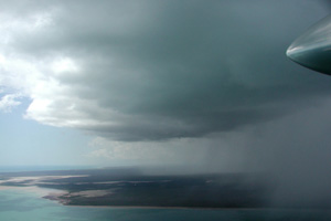 View of Hector while flying in the inflow region of the storm.