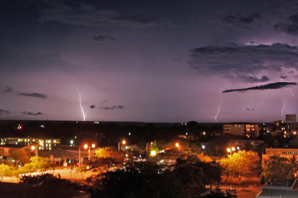 Lightning produced by a deep convective storm system just off the coast of Darwin. The ACTIVE project flew through the decaying anvil cirrus left behind by this system the following day.