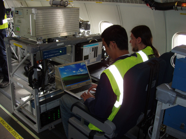 Instrument operators working at the Manchester cloud-aerosol rack