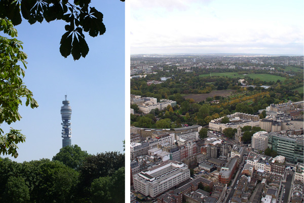 Regent's Park from BT Tower and BT Tower from Regent's Park (photographs: Ian Longley).
