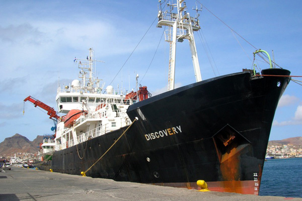 The NERC research vessel RRS Discovery.