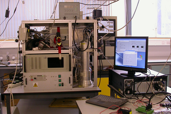 One of the Centre for Atmospheric Science Differential Mobility Particle Sizers operating in the aerosol lab measuring particles from the aerosol chamber during a chamber experiment.