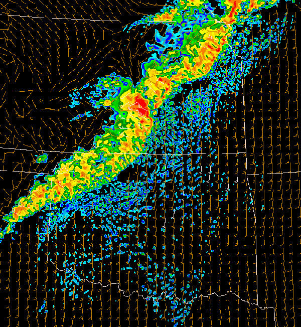 WRF output of a squall line in Oklahoma