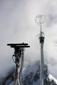 The Airborne Droplet Analyser deployed at the Jungfraujoch in Switzerland with a sonic anemometer during the CLACE2 project June/July 2002.