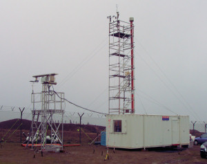The Holme Moss Measurement Site, with additional equipment present for the intensive measurement campagne during Nov-Dec 2006.