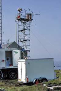 The Tow-a-van mobile lab during the NAMBLEX project, Mace Head, Ireland.