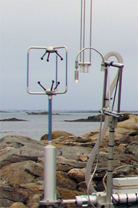 A Gill R3 Sonic Anemometer deployed during the RHaMBLe Roscoff experiment in 2006 as part of a turbulent flux system measuring fluxes of molecular iodine, halocarbons, aerosol particles, water vapour and ozone.
