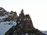 The Sphinx Laboratory at the Jungfraujoch High Alpine Research Station viewed from the glacier.