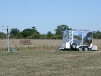 Fig 4. An eddy correlation flux system incorporating the QCLAS (housed in the container) making measurements of ammonia fluxes over a field during the TORCH experiment in Essex.