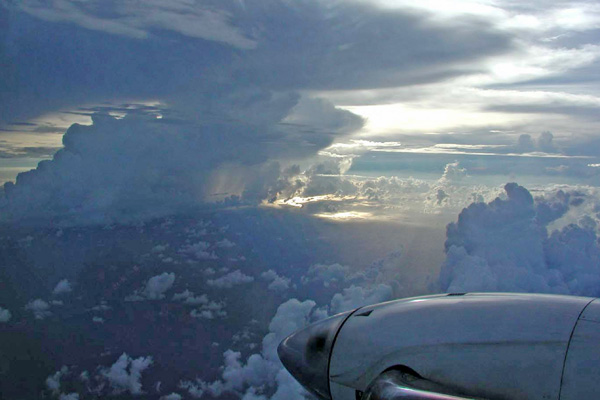 Flying beneath the anvil of a large thunderstorm during the ACTIVE campaign.
