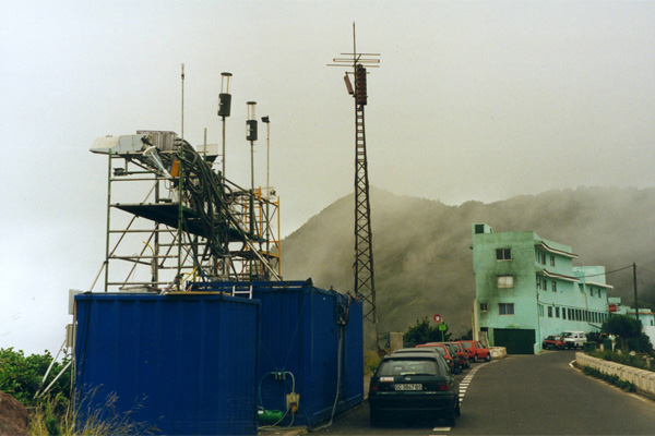 The in cloud measurement site at El Bailadero on Tenerife during the ACE-2 hill cloud project. The site is pictured on one of the days it was not quite in cloud.