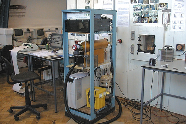 Cloud Particle Imager connected to a cloud chamber during a set of experiments to study the electrification of thunderstorms.