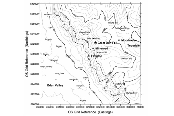 Map showing the location of measurement sites used for the Great Dun Fell cloud experiments. In this location cloud forms on the top of the Pennine ridge, so upwind and downwind sites do not need to be directly in line to measure changes due to cloud processing provided there are no strong local sources of aerosol.