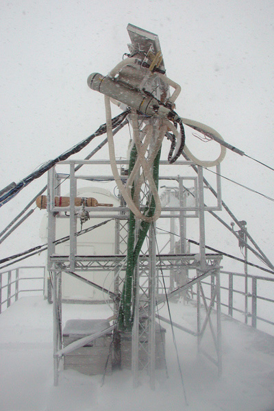 Microphysics instruments at Jungfraujoch during a cloud event.